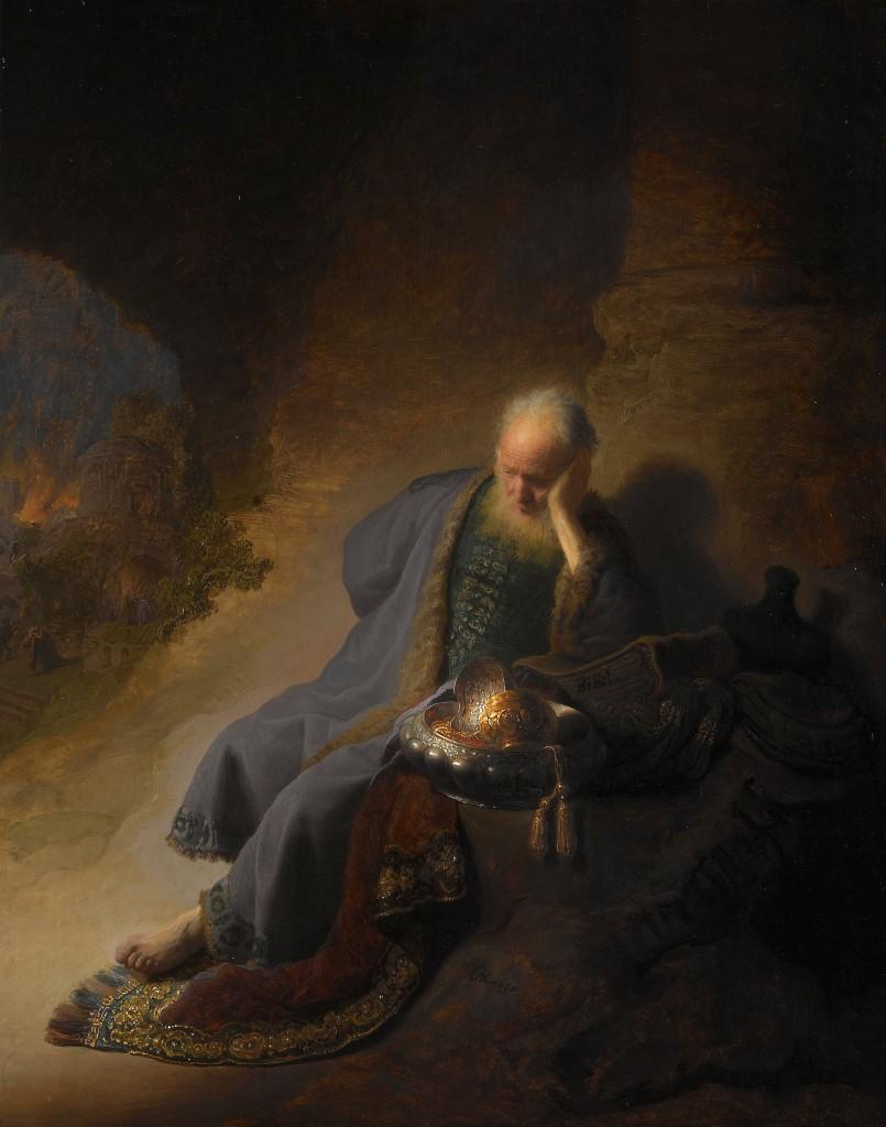 Figure 3. Lamenting Jeremiah. Rembrandt [Public domain], via Wikimedia Commons